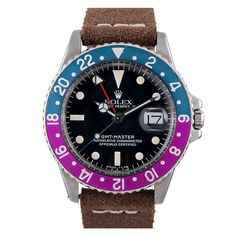 ROLEX Stainless Steel GMT-Master Color-Change Magenta Bezel | From a unique collection of vintage wrist watches at https://www.1stdibs.com/jewelry/watches/wrist-watches/