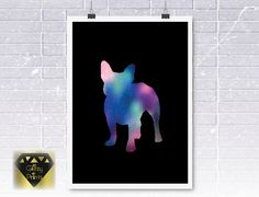 French Bulldog Watercolour Galaxy Print OR Poster Size Unframed Nursery Prints, Wall Art Prints, Poster Prints, Watercolor Galaxy, Watercolour, Pastel Galaxy, Personalised Prints, Gold Foil Print, Galaxy Print