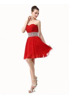 A-line Sweetheart Sleeveless Knee-length Red Chiffon Prom Dress IS0144