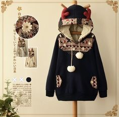 Color: navy blue. beige.  Size:free size.  Length:69 cm/26.91. Bust:96 cm/37.44. Shoulder width:39 cm/15.21. Sleeve length:61 cm/23.79.  Fabric material: cotton.  Tips:  *Please double check above size and consider your measurements before ordering, thank you ^_^  more fashion kawaii produ