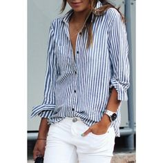 Classic Blue And White Striped Button Down Shirt ($16) ❤ liked on Polyvore featuring tops, long sleeve stripe shirt, long-sleeve shirt, striped top, striped button up shirt and stripe shirt