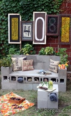 DIY cinder block tables and stools