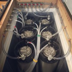 A look inside my recent keezer build. Six keg (ball lock) keezer. 10.2 cubic foot. Keezer organization. Homebrewing. Kegerator. Homebrew. Beerporn.
