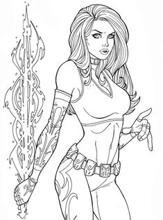 commissioned and me to draw her oc, mindgame. she told me mindgame was a mixture of emma frost and psylocke! very cool lines/inks by me colors to come . X Men, Autumn Tattoo, Matching Best Friend Tattoos, Marvel Coloring, Free Adult Coloring, Silhouette Clip Art, Black White Art, Fantastic Art, Coloring Book Pages