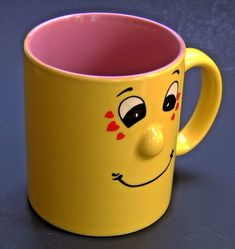 cb0f9ee09de Funny Face Coffee Mug 3D Nose Yellow Pink Protruding Grin Smile 10 oz.  Drink Cup