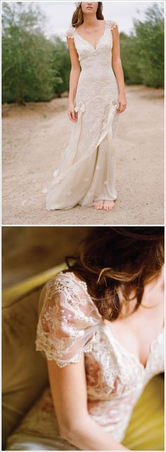 beach gypsy bride :: capped sleeves & ribbons :: wedding dress [Claire Pettibone]