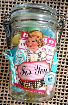 Little candy jar decorated with a VSM Bingo Craft Card and Twirly Twine