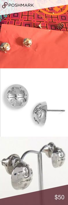 """New story Burch Silver Dome Earrings TORY BURCH WOMEN'S DOMED LOGO SILVER TONE PLATED POST EARRINGS   STYLE # 50005805.                                     Silver tone plated   Diameter - .5""""   Made for Pierced ears   Post Closure.                                                      Either a Velvet Dust Bag or TB gift Box will be included! Tory Burch Jewelry Earrings"""