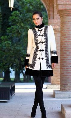 "sanziene: ""Fashion inspired by traditional Romanian clothing "" Folk Fashion, Diy Fashion, Winter Fashion, Womens Fashion, Fashion Design, Modest Fashion, Hijab Fashion, Fashion Dresses, Coats For Women"
