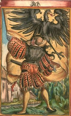 "Aachen [Ach] (= Aix-la-Chapelle) (f°39?) -- Koebel, Jacob, ""Wapen des heyligen römischen Reichs teutscher Nation"", Franckfurth am Main, 1545 [BSB Ms. Rar. 2155]"