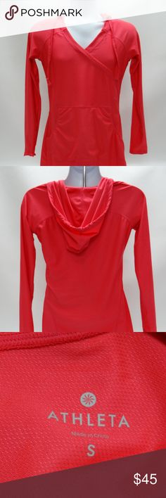 """Athleta Hot Pink Hoodie/Cover-up ATHLETA WOMENS HOT PINK SPORTS HOODIE/COVER~UP ATHLETIC/FITNESS ~ COVER-UP WOMENS SIZE SMALL  IN EXCELLENT PRE-OWNED CONDITION - NO RIPS, STAINS OR TEARS.  Wear as a cover-up, dress, jacket, hoodie - very versatile!  *Cinchable hood *Front pockets  Armpit to armpit - 18"""" Underarm inseam - 20"""" Top of shoulder to sleeve hem - 21"""" Top of shoulder to bottom hem - 33"""" Athleta Tops Sweatshirts & Hoodies"""