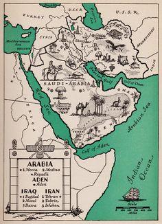 Pictorial ARABIA Map of Saudi Arabia Map of Iran Map of Iraq Map 1940s Pictorial Map Reprint Travel Map Gallery Wall Art Home Decor Old Maps, Antique Maps, Vintage Maps, Iraq Map, Iraq Baghdad, Samara, Saudi Arabia Culture, National Day Saudi, Asia Map