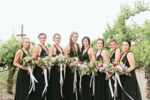 Bridesmaids in long black gowns   Style me Pretty