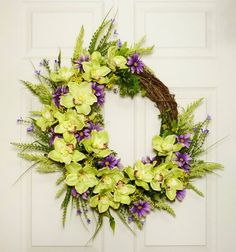 Summer Wreath Orchids and Daisies Front Door Wreath by Floralwoods, $58.00