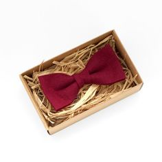 Red mens bow tie red bow tie for weddings dark red boys by Luwrine
