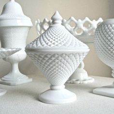 Hobnail milk glass.  My mother had a container like this.  We used it for candy.