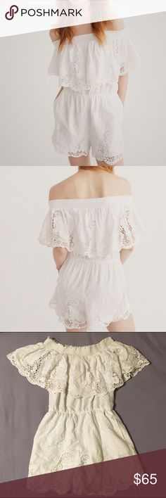 Women's Off-the-Shoulder Lace Romper Very cute white lace detailed off the shoulder romper from Abercrombie & Fitch! Clothing is in perfect condition and was only worn once. Sadly, it is too small on me. Abercrombie & Fitch Dresses Strapless