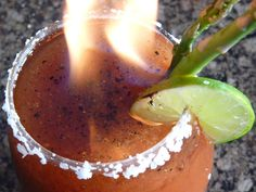 The Goblet of Fire - Halloween - asparagus, lime juice, Bloody Mary mix, hot pepper sauce, black pepper, vodka, Everclear.