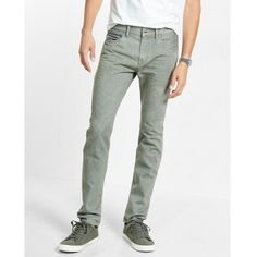 Express Straight Leg Slim Fit Gray Jeans (69 CAD) ❤ liked on Polyvore featuring men's fashion, men's clothing, men's jeans, grey, mens grey jeans, mens faded jeans, mens slim jeans, mens slim fit jeans and mens gray jeans