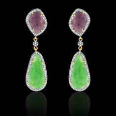 Emerald, Deep Pinkish Purple Sapphire Earring - JYOTI #color #happy #collection #emerald #pink #purple #sapphire #earring #designer #JYOTI #couture #jewelry