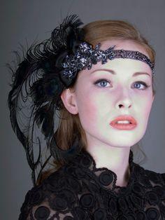 Licorice Nymph Peacock Feather Flapper Headband : Accessories : Deanna DiBene Millinery