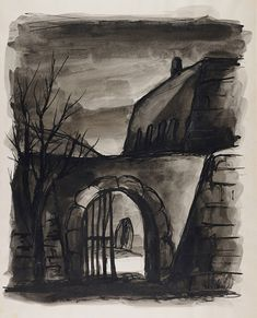 """Arte del Holocausto """"Entrada trasera (Theresienstadt 1941-44)"""" Friedrich Taussig (1906-1944)"""