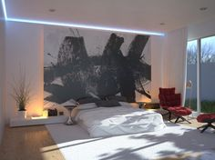 Modern Bedroom, great picture instead of a bed head