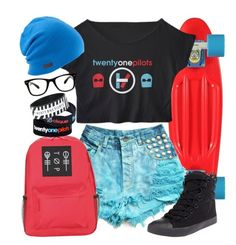 """Twenty One Pilots"" by neverland-is-just-a-dream-away ❤ liked on Polyvore featuring Betsey Johnson, All Day and Coal"