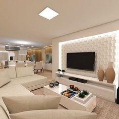Decoração de sala de estar moderna tons bege