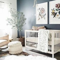 Bring your baby girl home to an adorable and functional nursery. Here are some baby girl nursery design ideas for all of your decor, bedding, and furniture Baby Nursery Decor, Nursery Design, Baby Decor, Accent Wall Nursery, Blue Nursery Girl, Baby Girl Nurseries, Nursery Room Ideas, Simple Baby Nursery, Dark Nursery