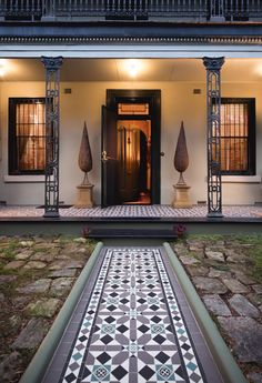 Olde English Tiles' gorgeous tessellated tiled floors can revitalise and transform a tired verandah into a spectacular, welcoming entrance to your home. Victorian Tiles, Victorian Terrace, Victorian Art, Brick Facade, Facade House, House Exteriors, Balcony Tiles, Porch Tile, Charcoal Walls