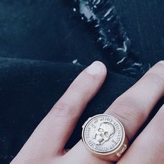 Idée et inspiration Bijoux :   Image   Description   Gold skull ring with silver coin front | SHOP NOW | Dark gothic beautiful skull ring, perfect for the punk rock dark warrior girl | Click to shop skull rings and jewellery now