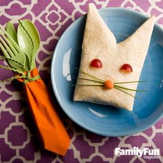 Bunny Brunch Burrito: Make this crowd-pleasing main dish on Easter morning. For fun and functional detail, pay homage to the rabbit with our wrapped Carrot Cutlery.