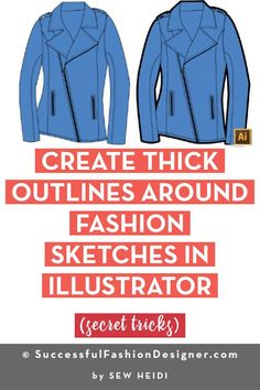Learn how to create a thick outline around fashion flat sketches in Adobe Illustrator in this free step by step tutorial for fashion designers. #fashiondesigners #fashiondesigner #fashiondesign #fashionillustrator #adobeillustrator #fashionsketch