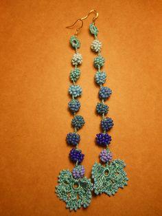 summer blue shades crochet earrings, beaded crochet earrings, dangle earrings, gift for her, romantic jewelry, greek summer earrings by ENOTIA on Etsy