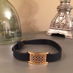 Tory Burch Logo Saffiano Leather Wrap Bracelet Wrap Saffiano logo plate leather bracelet.  Gold hardware. Tory Burch Jewelry Bracelets