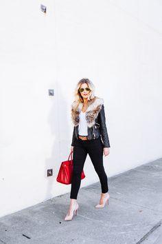 Leather jacket, fur collar, black denim, heels, white T