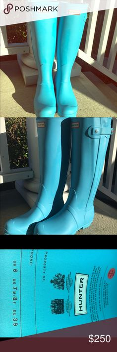 Hunter Boots Size 8 Teal Blue women's Mint worn once! Rare teal blue color bought at the hunter store in NY. I do have A hunter box to ship in but it's not the box they were purchased in. Make an offer, open to trading for Sorell tall Boots. Tiffany Blue Teal Hunter Boots Shoes Winter & Rain Boots