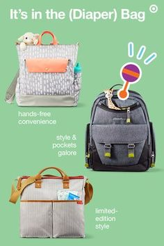 Lookin' for a diaper bag that fits your style? With all the choices, it's easy to find the perfect one. The Oh Joy! backpack has hands-free ease and even straps to your stroller. The Eddie Bauer Places & Spaces Flannel backpack has a tailored look that suits both Mom or Dad, plenty of storage and an insulated side pocket. And, the limited-edition Skip Hop Duo tote diaper bag features a striped pattern, designer-inspired rolled handles and nine pockets. Check out all the options at…
