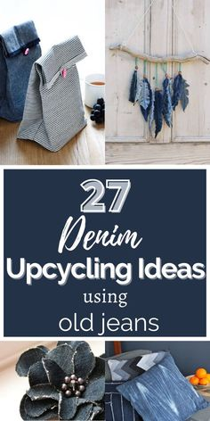 Diy Crafts Old Jeans, Jean Crafts, Clothes Crafts, Sewing Clothes, Reuse, Upcycle, Denim Scraps, Denim Ideas, Upcycling Ideas