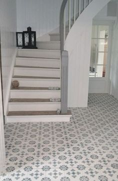 Cement tiles in the entrance. - Cement tiles in the entrance. - Cement tiles in the entrance. – Cement tiles in the entrance. Tiles, Home, Hallway Flooring, House Interior, Home Deco, Flooring, Hall Tiles, Tiled Hallway, Stairs
