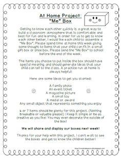 Back to School getting to know you activity idea~ Me Box!