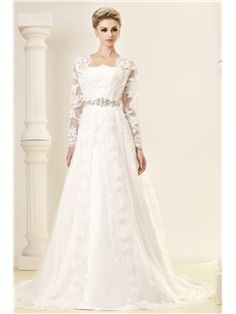 Gorgeous A-Line/Princess Strapless Chapel Embroidery Dasha's Wedding Dress