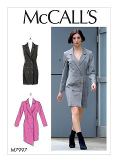 Sewing patterns for fashion clothing, crafts and home decorating. Dress sewing patterns, evening and prom sewing patterns, bridal sewing patterns, plus costume and cosplay sewing patterns. Gilet Kimono, Make Your Own Clothes, Suit Fabric, Miss Dress, Mccalls Sewing Patterns, Blazer Dress, Fashion Sewing, Diy Fashion, Lining Fabric