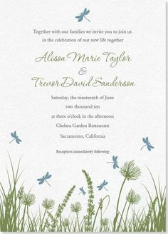 Dragonfly Wedding Invite would also make a very sweet spring baby shower invitation