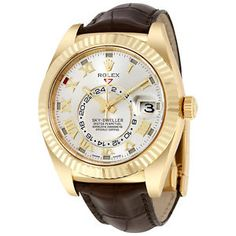 fe866e696c1b Details about Rolex Sky Dweller Silver Dial Yellow Gold Brown Leather Mens  Watch 326138