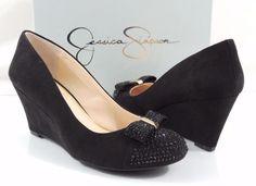 Women's Shoes Jessica Simpson SAMMI Wedge Pumps Suede Black Size 7.5 #JessicaSimpson #PumpsClassics #Formal