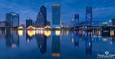 Jacksonville Skyline at Blue Hour Panorama  Isaiah D. Hart a prominent settler of Cow Ford convinced his fellow landowners to donate land along the north bank to establish a town. In 1822 a twenty-block area bound by Catherine Duval and Ocean Streets became the town by the river. Many Floridians viewed Andrew Jackson as a hero for his invasion of Spanish Florida and decided to name the town Jacksonville. By 1830 Jacksonville had expanded to nearly 100 residents. Two years later it elected…