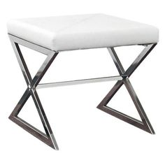 Bring posh style to your home decor with this eye-catching ottoman, crafted of metal and white faux leather. Product: Ottoman   ...