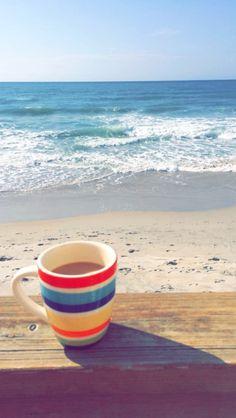 waves, sun rays, and coffee